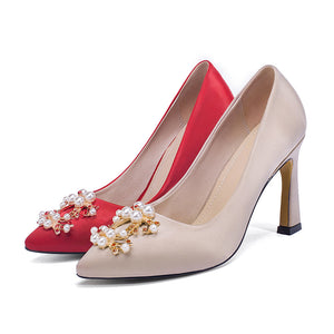 Wedding Shoes High Heel Shallow Mouth Pointed Toe Pumps
