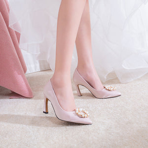 Women's Chunky Heel Pumps Wedding Shoes High-heeled Shallow-mouth