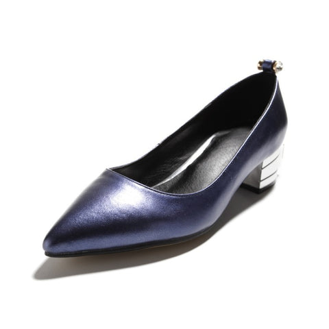Pointed Toe Thick-heeled Medium-heeled Genuine Leather Women Pumps