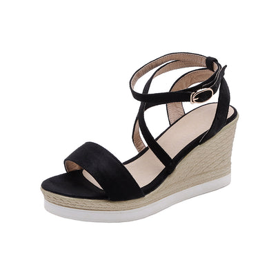 Women's Summer Open-toed Buckle Wedge Sandals