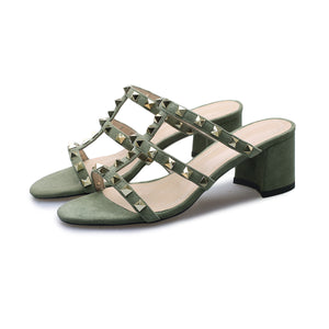 Women's Genuine Leather Rough Heel Mid Heel Rivet Hollow Sandals