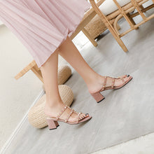 Load image into Gallery viewer, Women's Genuine Leather Rough Heel Mid Heel Rivet Hollow Sandals