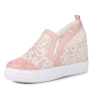 Women's Lace Thick Bottom Sequins Platform Wedges Casual Shoes