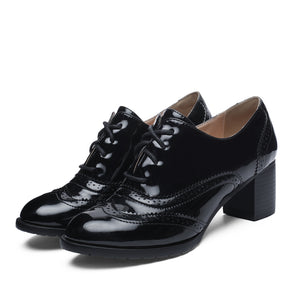 Lace Up Oxford Shoes Middle Heels for Women