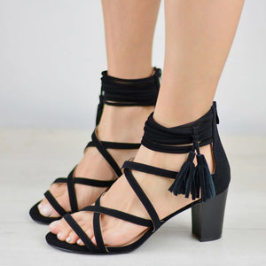 Women's Cross Straps Chunky Heel Sandals