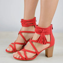 Load image into Gallery viewer, Women's Cross Straps Chunky Heel Sandals