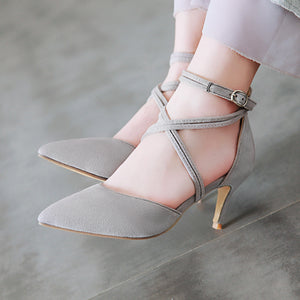 Women's High Heel Buckle Hollow Stiletto Heel Sandals