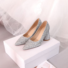 Load image into Gallery viewer, Pointed Toe High Heel Sequins Block Heel Pumps