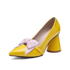 Sweet Bow High Heel Pointed Toe Block Heel Pumps