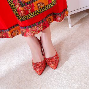 Pointed Toe High-heeled Shallow-mouthed Wedding Shoes Pumps