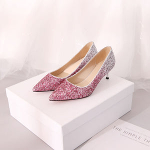 Pointed Toe Sequined Wedding Shoes Women Pumps Stiletto Middle Heels