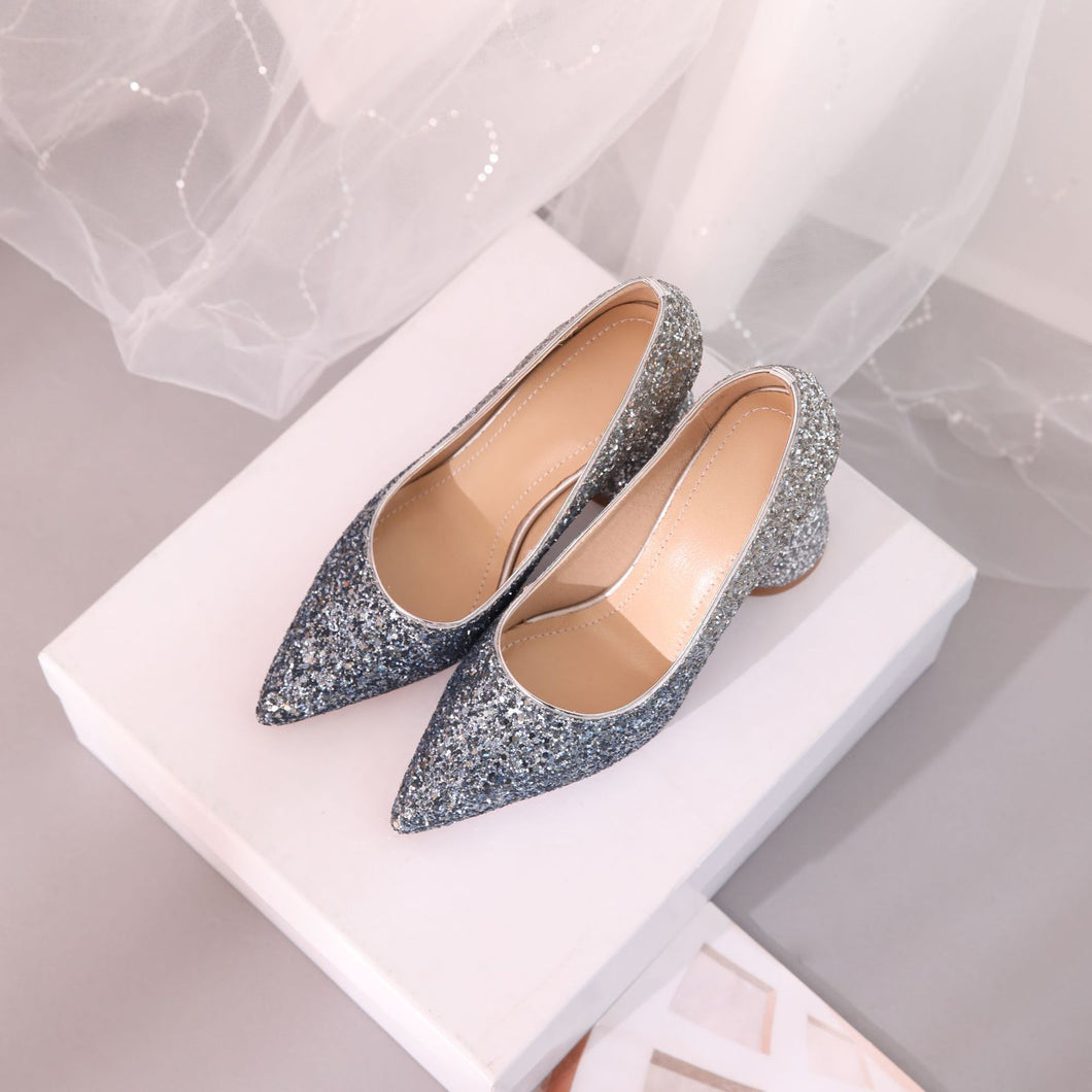Pointed Toe High Heel Sequins Block Heel Pumps
