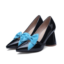Load image into Gallery viewer, Sweet Bow High Heel Pointed Toe Block Heel Pumps