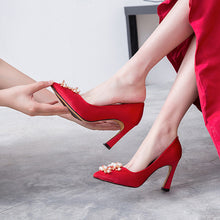 Load image into Gallery viewer, Wedding Shoes High Heel Shallow Mouth Pointed Toe Pumps