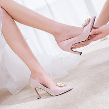 Load image into Gallery viewer, Women's Chunky Heel Pumps Wedding Shoes High-heeled Shallow-mouth