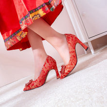 Load image into Gallery viewer, Pointed Toe High-heeled Shallow-mouthed Wedding Shoes Pumps