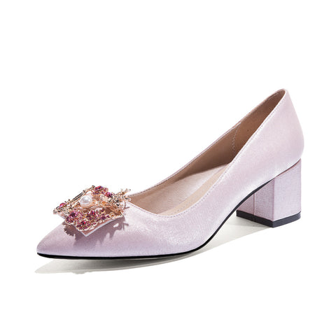 Rhinestone Shallow Pointed Toe Bride Shoes Women Pumps Mid Heel