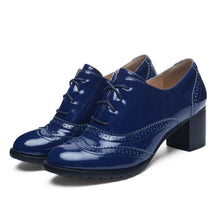 Load image into Gallery viewer, Lace Up Oxford Shoes Middle Heels for Women