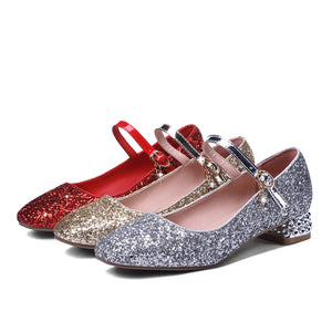 Women's Buckle Wedding Shoes Rhinestone Low Heeled Mary Janes