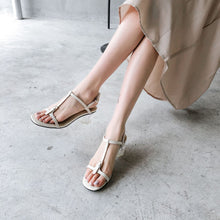 Load image into Gallery viewer, Women's Genuine Leather Mid Heel Buckle Square Head Sandals