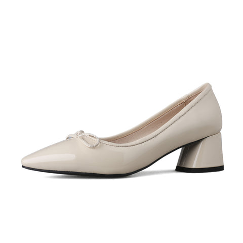 Pointed Toe Knot Thick Heel Square Head Women Pumps
