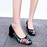 Fower Embroidery Shallow Mouth Middle Chunky Heels Pumps