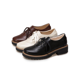Women's Low Heeled Oxford Shoes