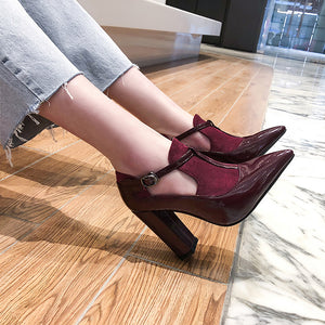 Pointed Toe High-heeled Chunky Heels Pumps Shoes for Women