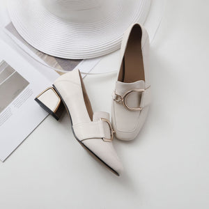 Casual Leather Thick Heel Square Head Women Pumps