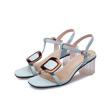 Load image into Gallery viewer, Women's Genuine Leather Mid Heel Sandals