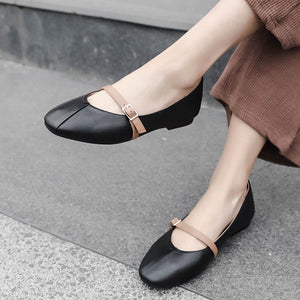 Shallow Square Head Leather Women Driving Shoes