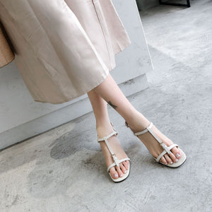 Women's Genuine Leather Mid Heel Buckle Square Head Sandals
