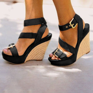 Buckle Belt Platform Wedge Sandals