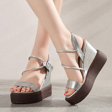 Load image into Gallery viewer, Women's Buckle Open Toes Wedge Sandals