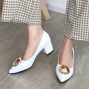 Pointed Toe High Heel Shallow Mouth Block Heel Pumps