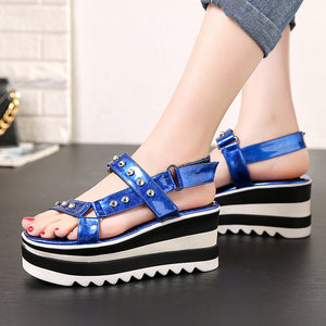 Women's Rivet Open-toed Wedge Sandals