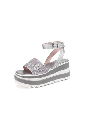 Women's Sequined Platform Wedge Sandals