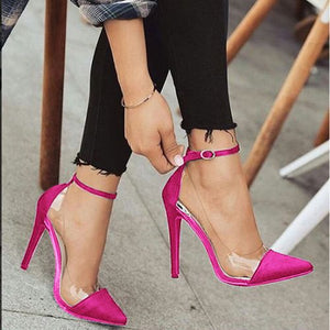 Women Pumps Pointed Toe Ankle Strap High Heels Shoes Woman