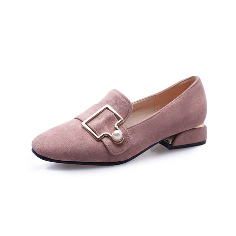 Square Head Shallow Mouth Low Heel Shoe Women