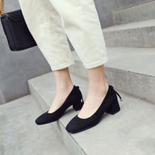 Load image into Gallery viewer, Square Head Middle Heels Women Chunky Pumps