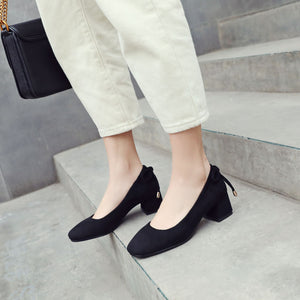 Square Head Middle Heels Women Chunky Pumps