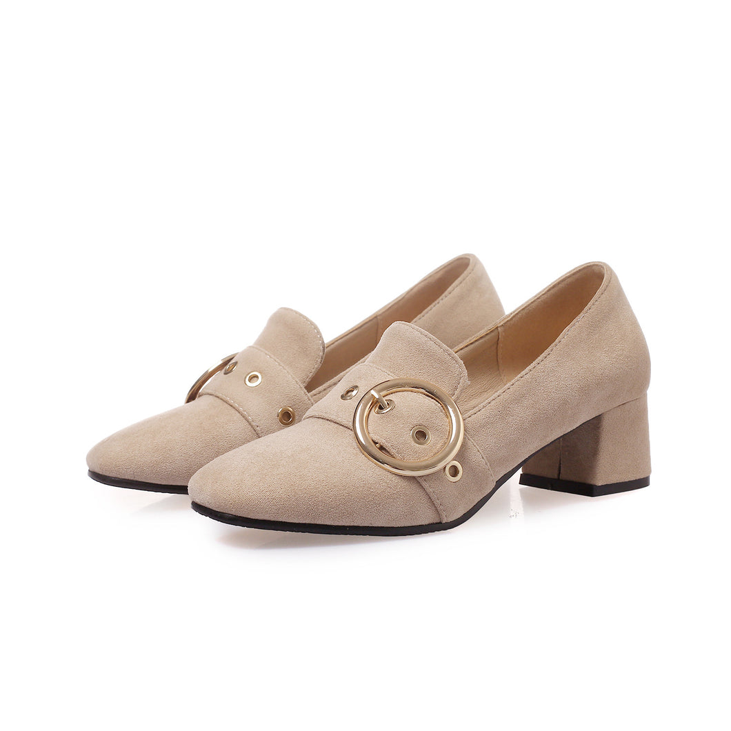 Square Head Shallow Mouth Women Chunky Pumps