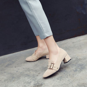 Middle Heels Shallow Square Head Women Chunky Pumps