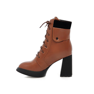Fashion New 2016 Women Ankle Boots Pu Leather Lace Up Shoes 4973