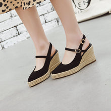 Load image into Gallery viewer, Women's High Heel Buckle Belt Wedges Sandals