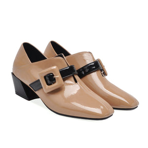 British Style Medium-heel Square Head Women Chunky Pumps