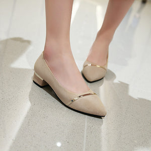 Thick-heeled Shallow-mouth Women Chunky Pumps