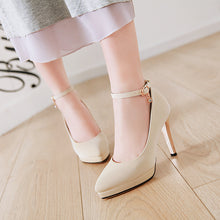 Load image into Gallery viewer, Sexy Super High-heeled Buckle Word Buckle Platform Pumps