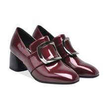 Load image into Gallery viewer, Patent Leather Women Chunky Heels