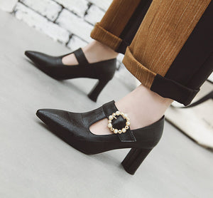 Pointed Toe High Heels Block Heel Shoes
